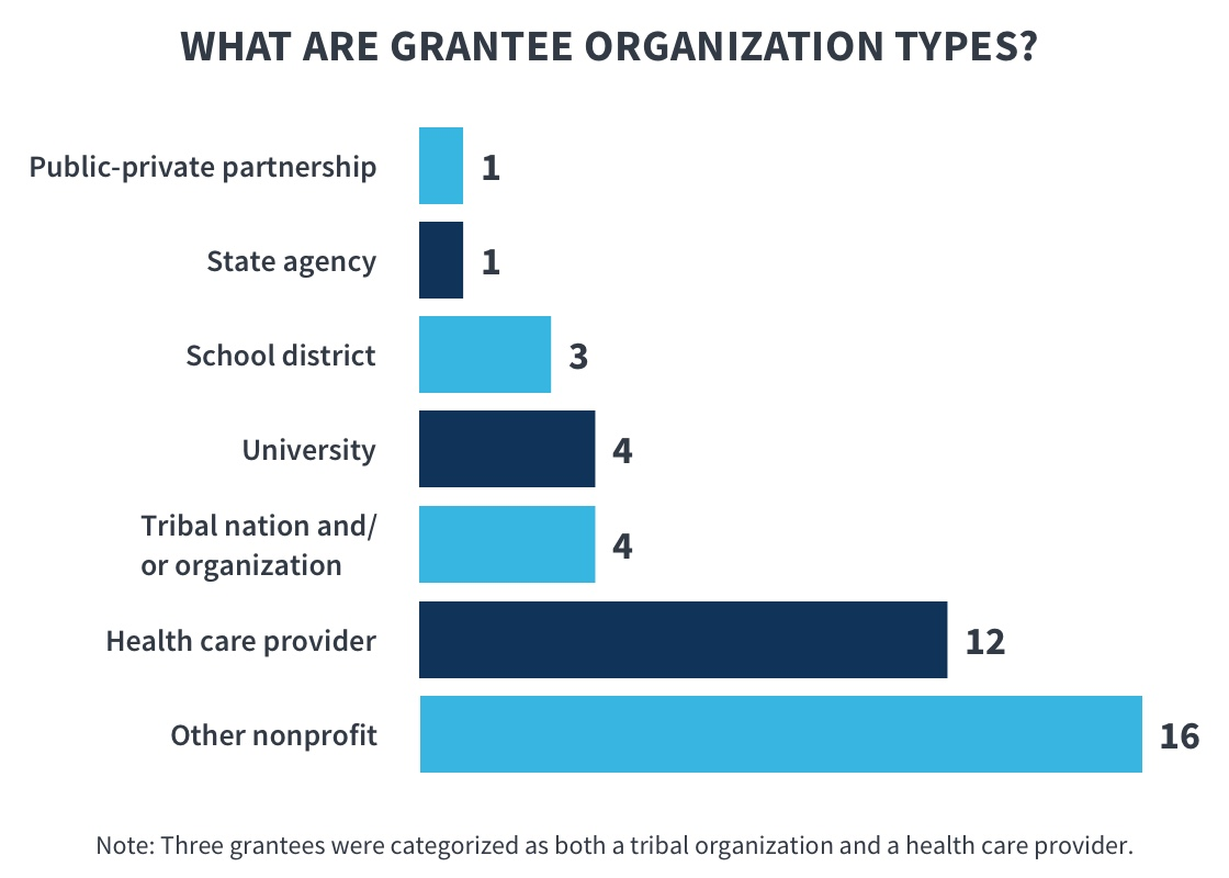 This graphic shows what types of organizations the grantees are. One grantee is a public-private partnership organization;one grantee is a state agency; three grantees are school districts; four grantees are universities; four grantees are tribalnations or tribal organizations; twelve grantees are health care providers; and 16 grantees are other types of nonprofit organizations.Note that three grantees are both tribal organizations and health care provider organizations.